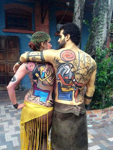 Dayna and Luke body painting models